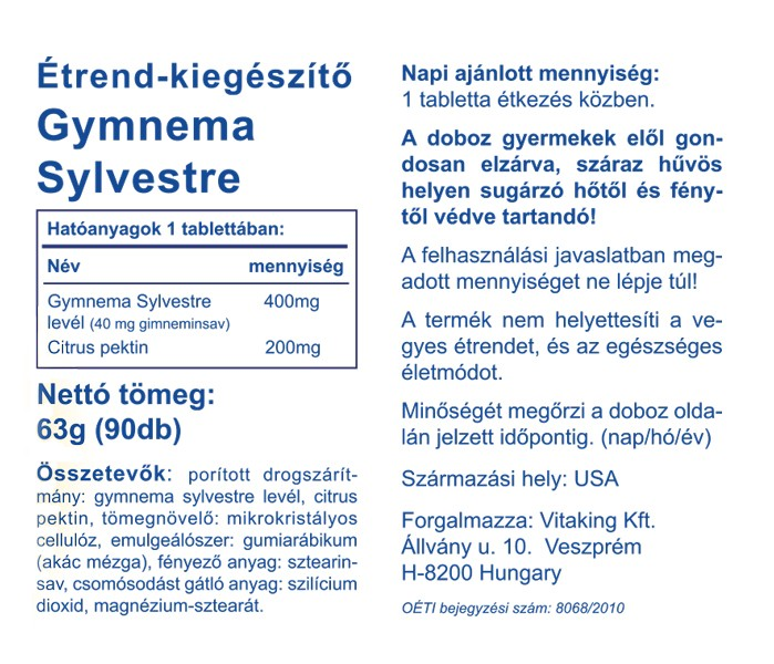 Vitaking Gymnema Sylvestre 400mg tabletta